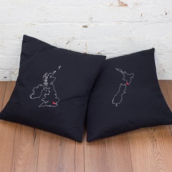 UK & New Zealand map cushions