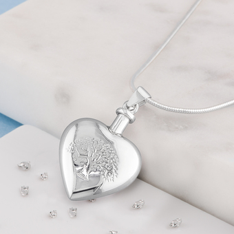 Tree of life heart urn pendant