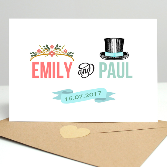 personalised wedding card with date