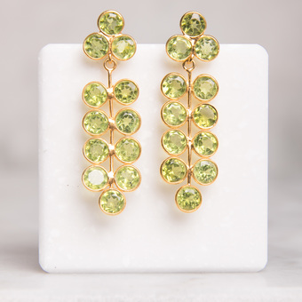 Green peridot gold stud drop earring
