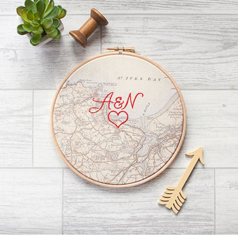 Embroidered cotton personalised map hoop