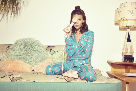Foil Print Pineapple Long PJ Set