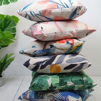 Assorted Patterned Fabric Cushions