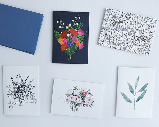 A selection of hand illustrated greeting cards in bright colours