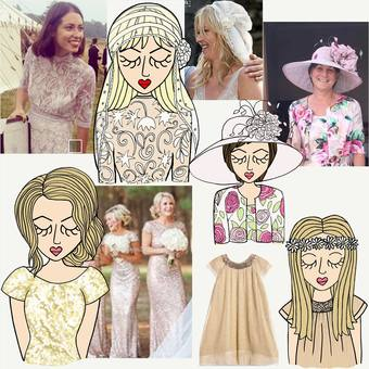 A snap shot of some of the personalised bespoke drawings we have done of customers wedding outfits.