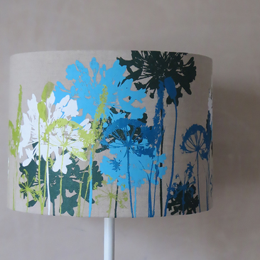 blue, green and white screen printed lampshade