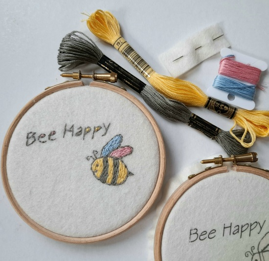 bee happy embroidery kit