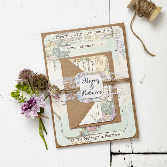 Travel inspired wedding invitation set