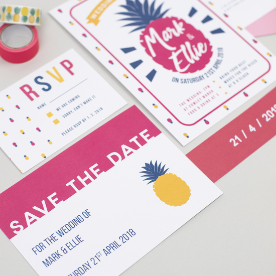 colourful wedding stationery