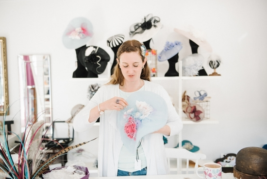 Picture of Holly in her millinery studio