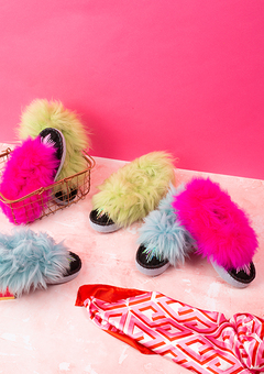 Neon sheepskin slippers