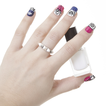For the abstract look, use Apharsec Cubisticated nail stamp