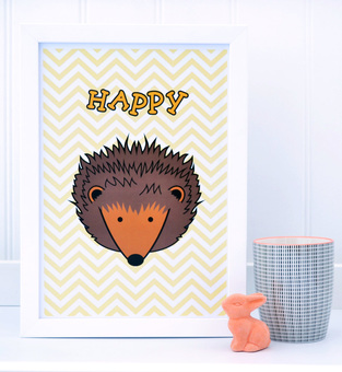 Happy Hedgehog A4 Print