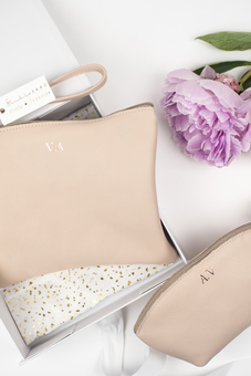 Luxury personalised nude leather pouch and cosmetic bag