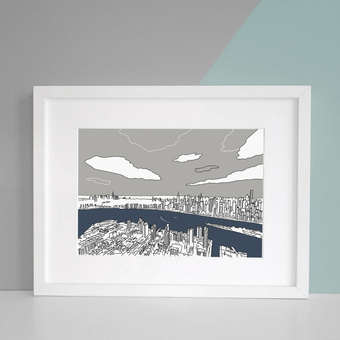 Manhattan Ariel View Art Print