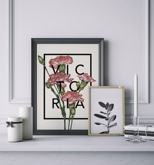 Personalised Botanical Carnations Flower Print