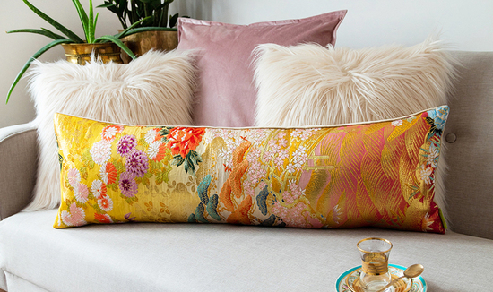 Upcycled vintage kimono silk cushions by Hunted and Stuffed London