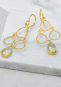 18ct Gold Vermeil Lemon Topaz Decco gift earrings