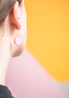 Pink Marbled Disc Earrings in Stainless Steel