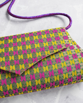 LAGOM Goa Brocade Clutch Bag Purple