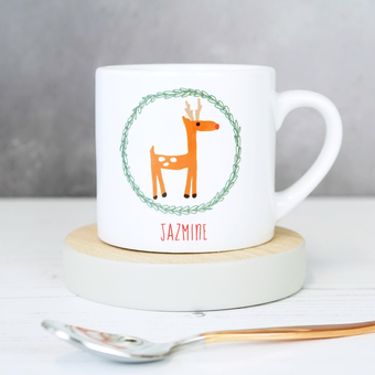 personalised winter reindeer children's mug