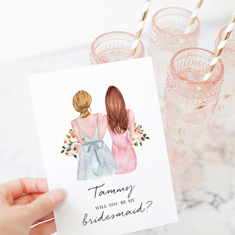 A customisable Bridesmaid Proposal Card