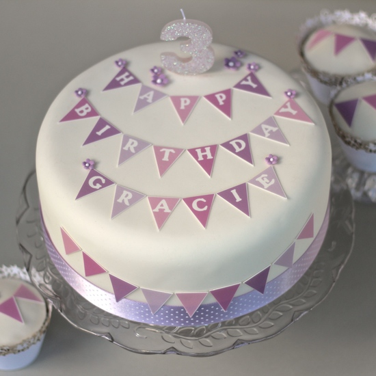 Bunting birthday cake kit