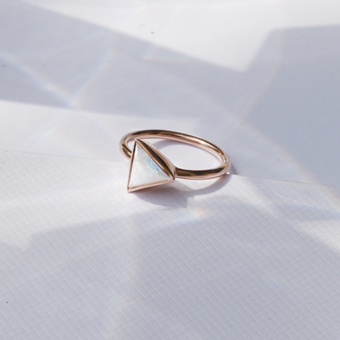 Rose gold and moonstone ring