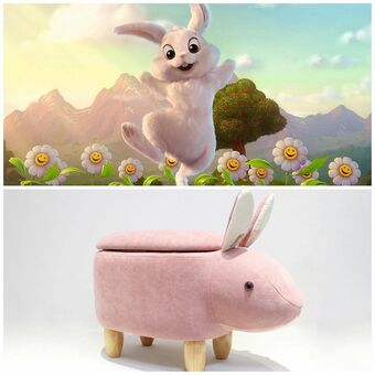 Rabbit footstool for the nursery or children's room, with a storage compartment for bits and pieces.