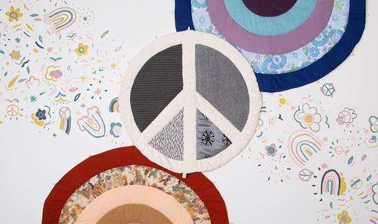 peace sign and rainbow patch work