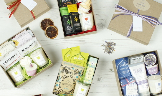 Natural Gift Sets containing a selection of hand picked products completely ethical, containing a selection of organic, natural and fairly traded products.