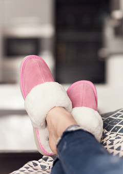 Pink sheepskin slippers