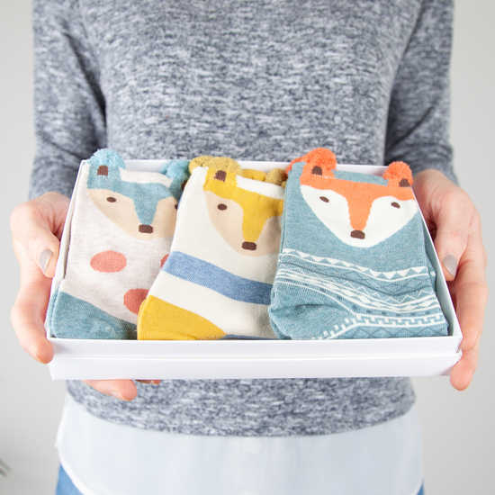 Cute little Fox Socks from Hayley & Co's Box of Socks range