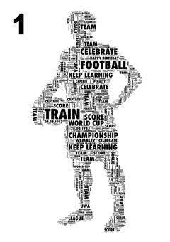 Football Player word art print. A unique gift made entirely with YOUR words.