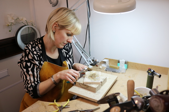 Julia Usher at the jeweller's bench