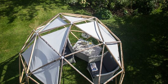 Garden pod arbour with shade sails creates a lovely outdoor space