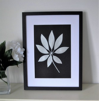 Framed silver ginkgo leaf painting