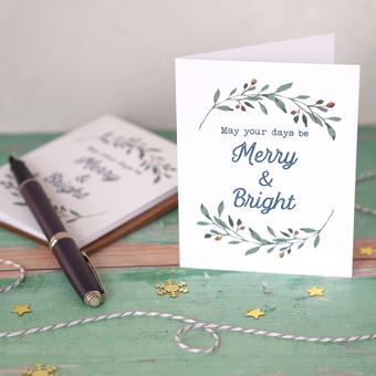 Merry & Bright Rose Gold Eucalyptus Christmas Cards