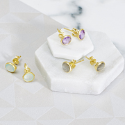 Gemstone and gold stud earrings