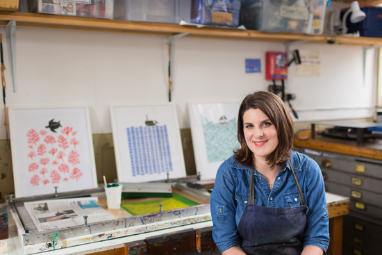 Artist Lu West in her printmaking studio in Kew Gardens.