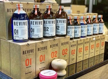 REVIVE car cleaning products including wood wax puck