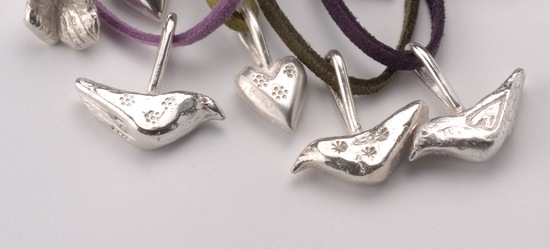 Solid silver birds and hearts