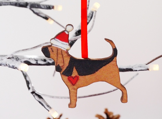 Bloodhound Wooden Christmas Decoration
