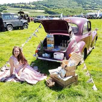 Sarah-jayne with the seedlings 1968 Morris Minor