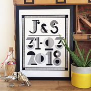 LINEAR MONOCHROME TYPOGRAPHIC PERSONALISED DATE AND INITIALS PRINT