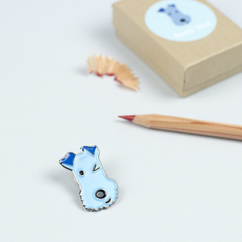 Winking Dog Lapel Pin by Forever Foxed