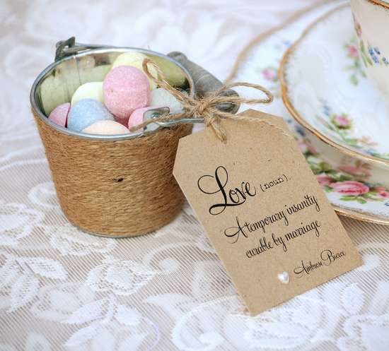 Love Quote Wedding Favour Tags in kraft and rustic twine
