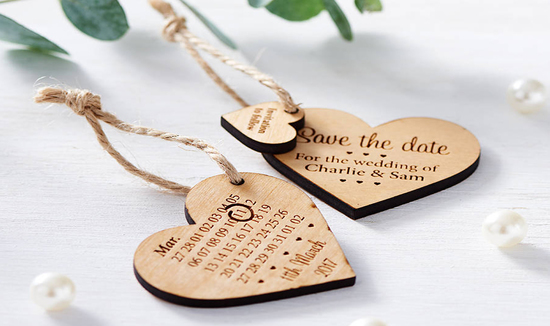 Design by eleven save the date wooden heart rustic save the date