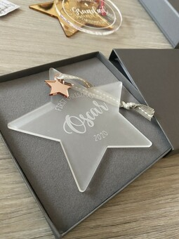 GIFT WRAPPING, GIFT BOX, LUXURY, PERSONALISED GIFT, FROSTED STAR, CHARM, ROSEGOLD, CHRISTMAS, KEEPSAKE, FIRST CHRISTMAS