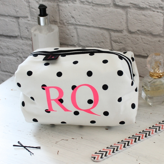 Personalised Black & White Spot Wash Bag